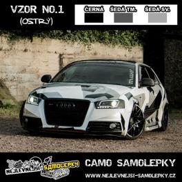 Camo samolepky - 3barvy: ČERNÁ/ŠEDÁ SV/ŠEDÁ TM