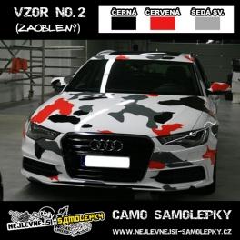 Camo samolepky - 3barvy: ČERNÁ/ŠEDÁ SV/ČERVENÁ